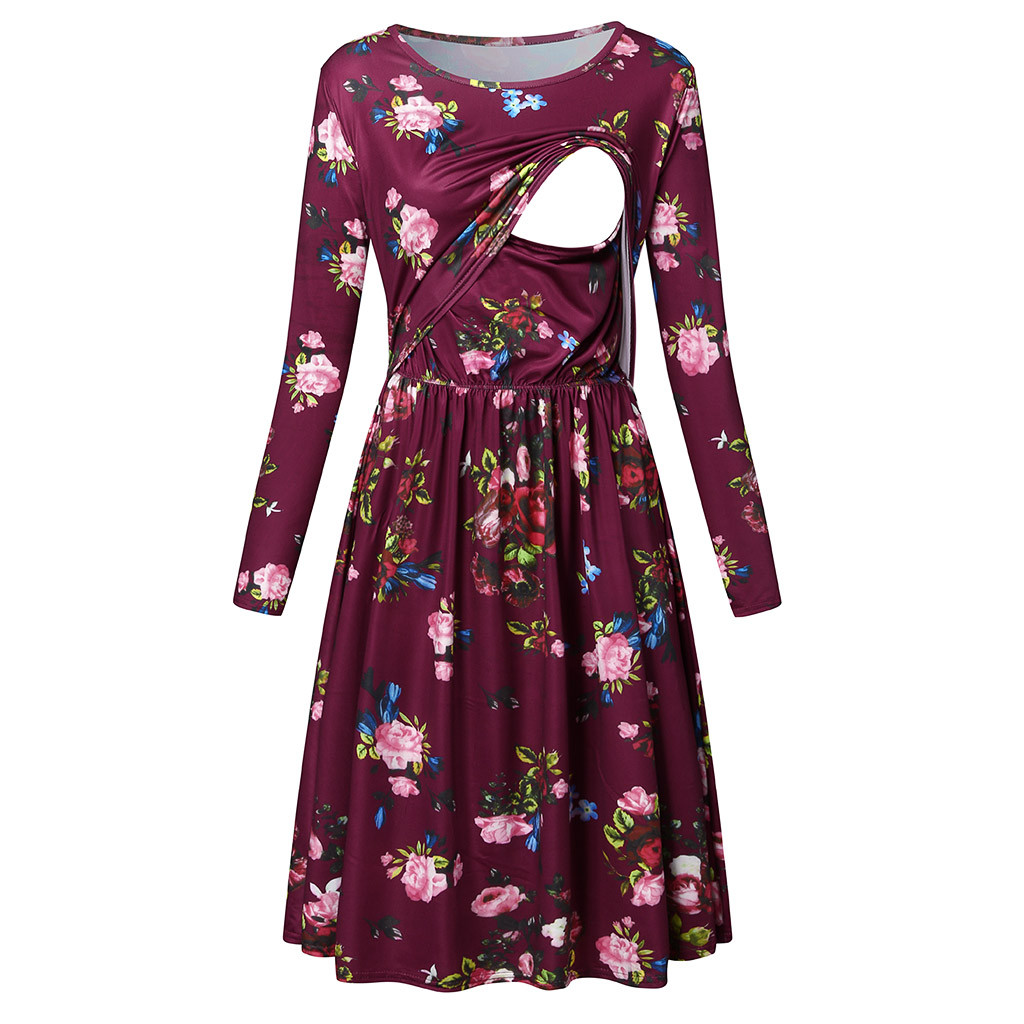 Maternity Nursing Dress Autumn Long Sleeve Floral Pregnant Woman Dress O-Neck Clothes For Nursing Clothes For Pregnant Women XXL