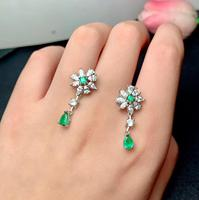 new natural green emerald red rudy gemstone earrings for women with silver jewelry girl present choice birthday party gift