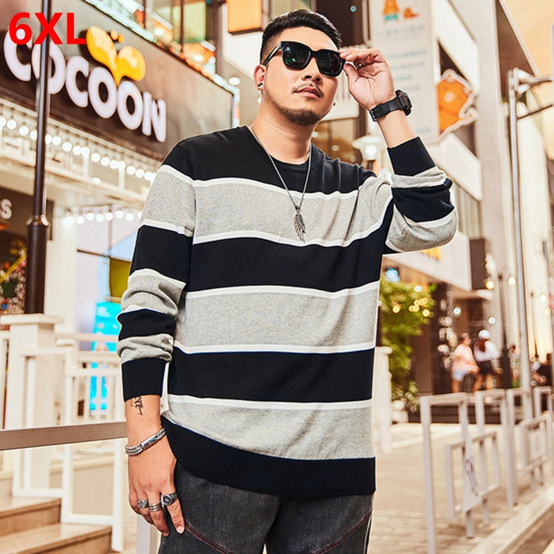 Large Size Sweater Coat Male Tide Oversized Striped Student Round Neck Sweater Shirt