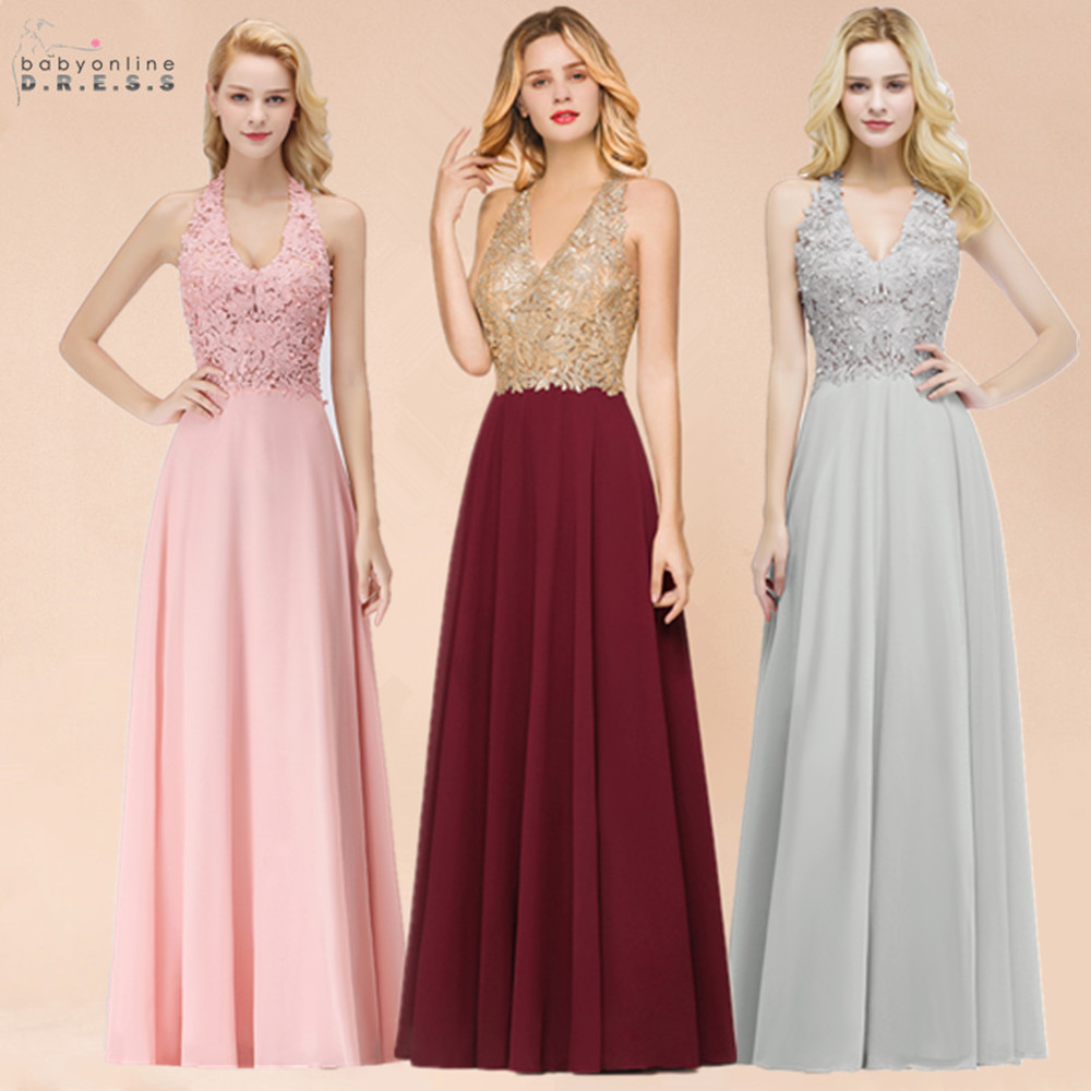 Babyonlinedress Halter Neck Lace Pearls   Prom     Dresses   Long Sexy Open Back Chiffon Evening   Prom   Gowns Vestido De Gala Jurken
