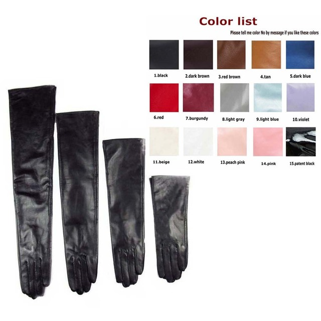 custom made 30cm to 80cm long top sheep leather evening opera gloves 15 colors to choose