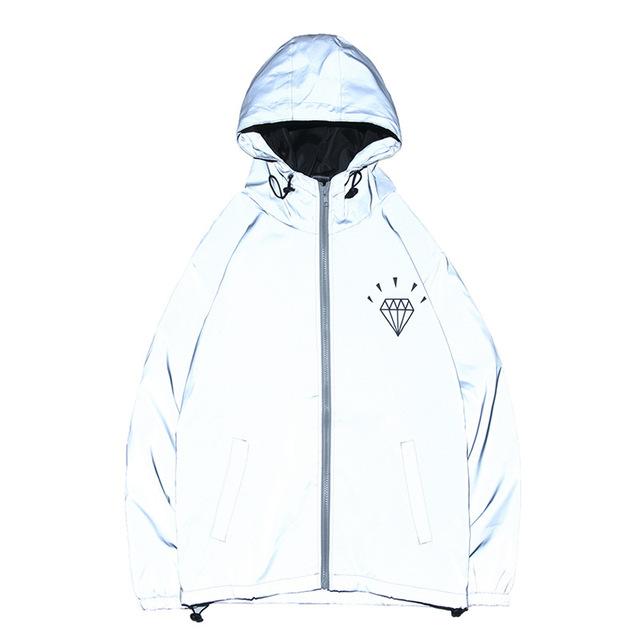 Chtengiber Autumn Men Reflective Jacket Hip Hop Streetwear Windbreakers Male Light Hoodies Waterproof Coat Kurtka Veste Homme