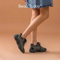 BeauToday grosses baskets femmes peau de porc en cuir maille bout rond croisé dame décontracté plate-forme papa chaussures à la main 29347