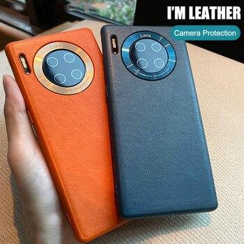 Перейти на Алиэкспресс и купить Роскошный Новый деловой ударопрочный кожаный чехол для Huawei Mate 30 5G Ультра тонкие Чехлы для Mate 30 Pro простой чехол для телефона Coque Capa