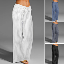 2020 Celmia Women Wide Leg Pants Vintage Linen Long Palazzo Casual Loose Striped Elastic Waist Trousers Plus Size Pantalon Femme palazzo leg striped cami jumpsuit