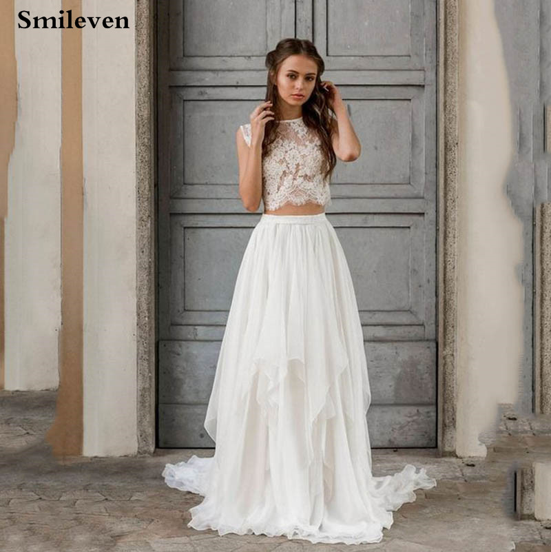 Smileven  Boho Wedding Dress 2 Pieces Sleeveless Sexy Lace Beach Bride Dresses Train Elegant Chiffon Wedding Bridal Gowns
