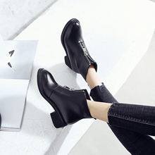 AME Autumn Winter Martin Boots Comfortable Front Zipper Black Ankle Flat High Heels 4.5cm Women Warm Shoes AX009