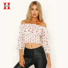Elastic Slim Pleated Crop Tops Women Summer Slash Neck Crop Top Female Floral Print Sexy Ruffles Short Shirt ropa de mujer