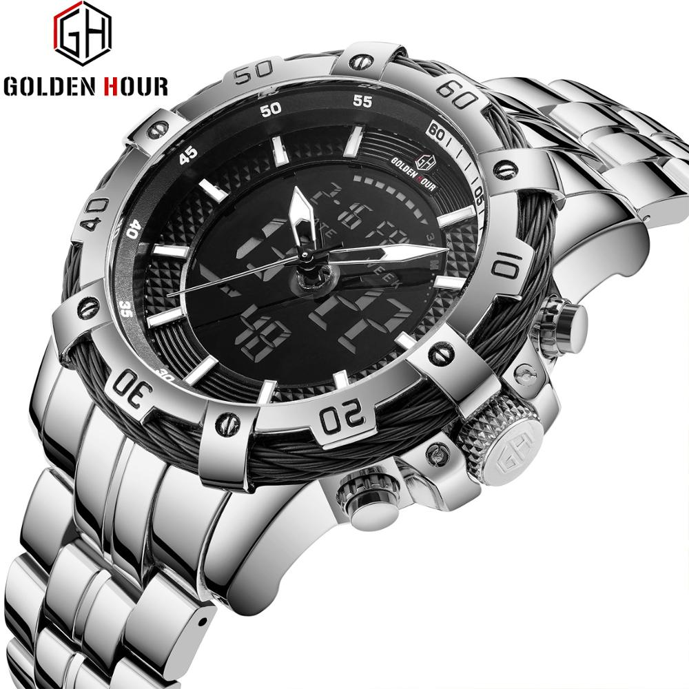 Reloj de cuarzo de doble hora deportivo de GOLDENHOUR para hombre, reloj Digital analógico militar, reloj de correa de acero de lujo de marca superior
