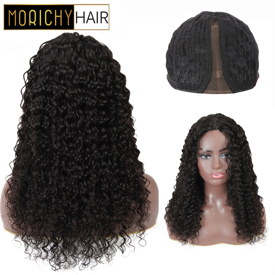 Morichy Deep Wave Part Lace Wigs Peruvian Non-Remy Human Hair Natural Black For Woman 150% Density Glueless Wigs For Female