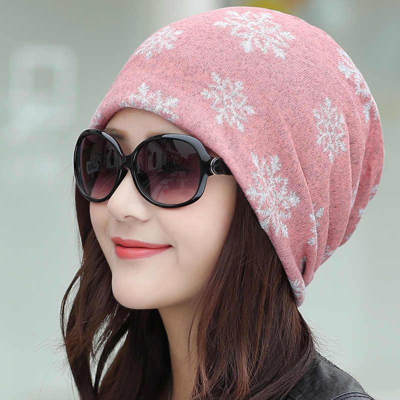 لونغكيبر 2020 تقليد الكشمير النساء بيني السيدات ندفة الثلج عادية كوفية من البوليستر قبعة Skullies الفتيات الإناث جديد أغطية الرأس