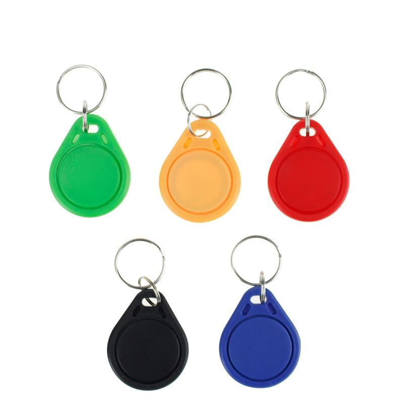 100pcs RFID Key IC Tag 13.56Mhz FM1108 Intercom Key Token Rewritable Keyfobs Keychain Badge Factory Access Control Car Park