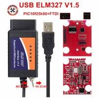 2021 Original ELM327 USB FTDI PIC18F25K80 con interruptor de escáner de código de HS y MS puede Super Mini Elm327 obd2 V1.5 Bluetooth