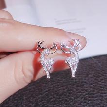 New Creative Christmas Ornaments Stylish Christmas Elk Crystal Deer Stud Earrings Women Fashion Jewelry Gift Christmas Ornaments cheap rinhoo zinc Alloy CN(Origin) Animal TRENDY ER20Y0702 Push-back