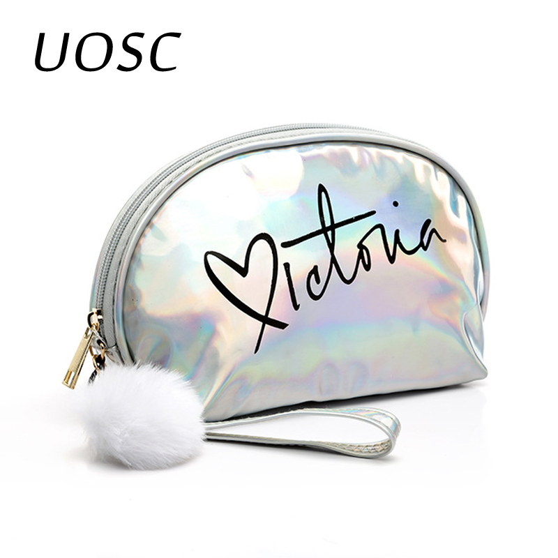 UOSC Makeup Bag Travel Women Cute Make Up Bags Zipper PVC Letter Fashion Women Travel Organizer Cosmetic Bags 2019