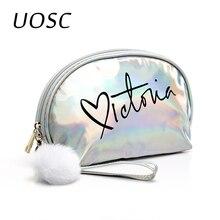UOSC bolsa de maquillaje bolsa de viaje para mujeres lindas bolsas de maquillaje cremallera PVC carta moda mujeres organizador de viaje cosméticos bolsas 2019