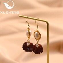 XlentAg Natural Fresh Water Baroque Pearl Dangle Earrings Handmade Flower Drop Gifts For Women Fine Jewellery GE0481