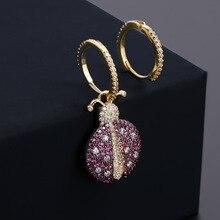 2019 cute rhinestone asymmetry beetle earrings tiny hoop for women