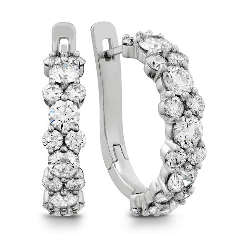 Huitan Fashion Cubic Zirconia Hoop Earrings for Women 2021 Luxury Wedding Bands Accessories Statement Earrings Jewelry Hot Sale