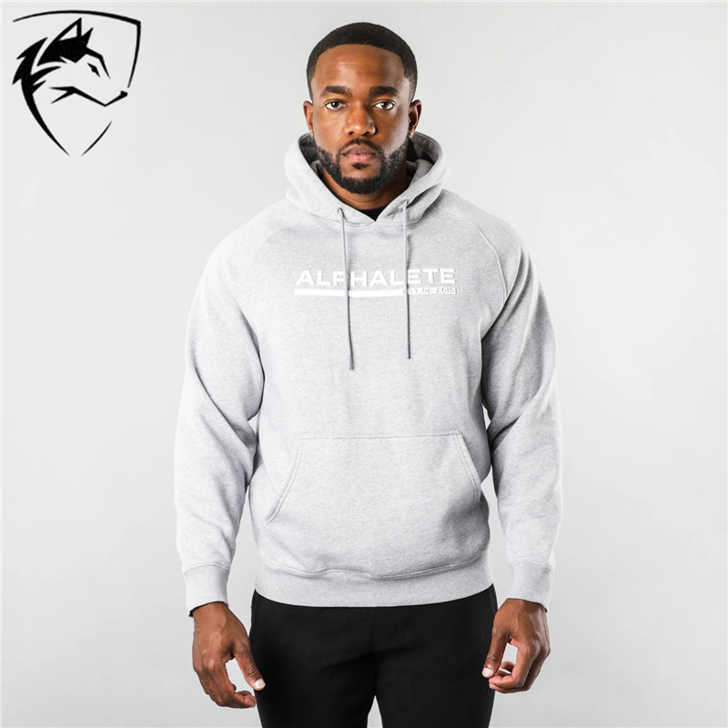 ALPHALETE Brand  High Quality Autumn Winter Men Hoodies Long Sleeve Hoodies Sweatshirts Gyms Muscle Fit Hoodies Clothes