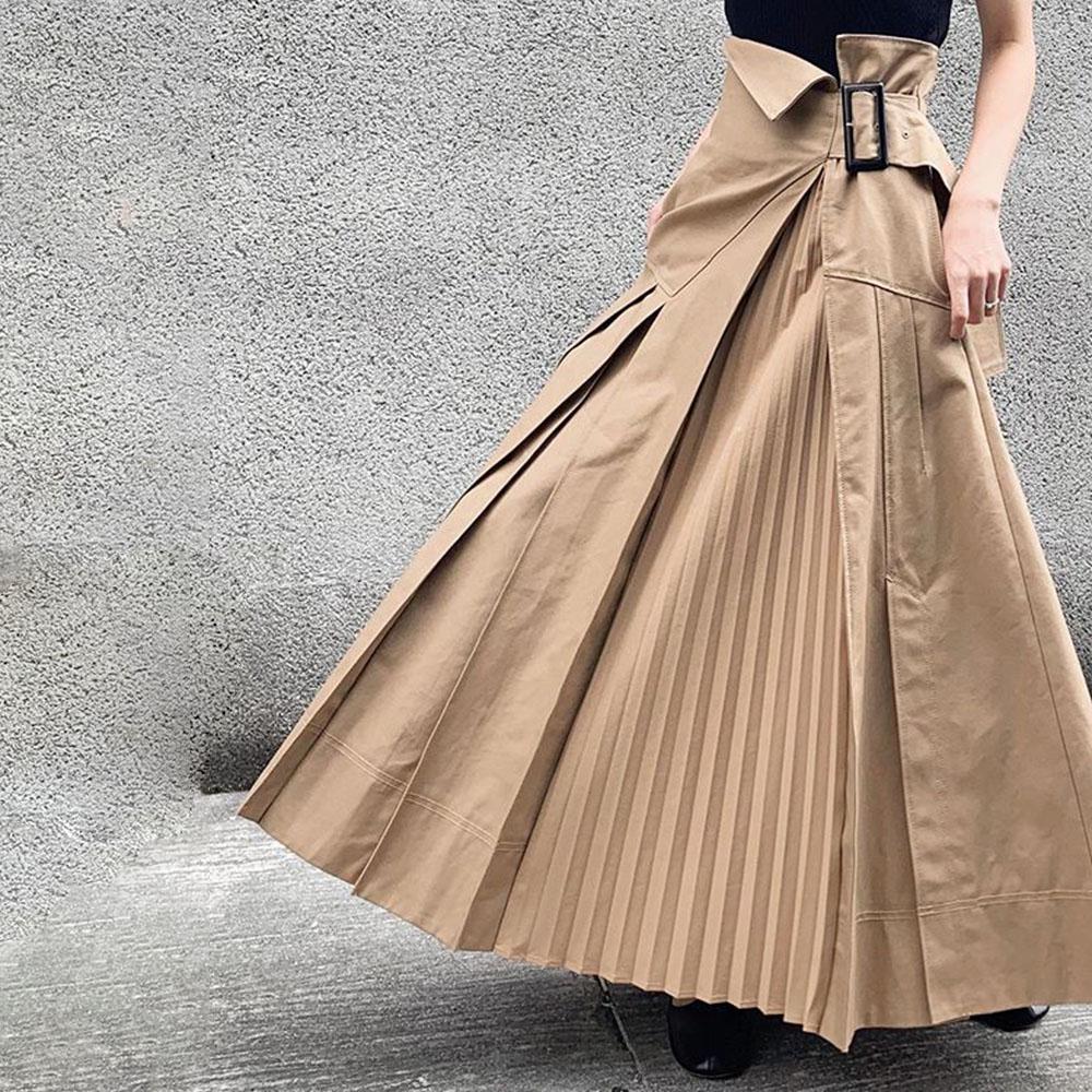 Asymmetrical Casual Pleated Skirt Women Plain Ankle Length Khaki Harajuku Hipster Office Ladies Plus Size High Waist Long Skirts