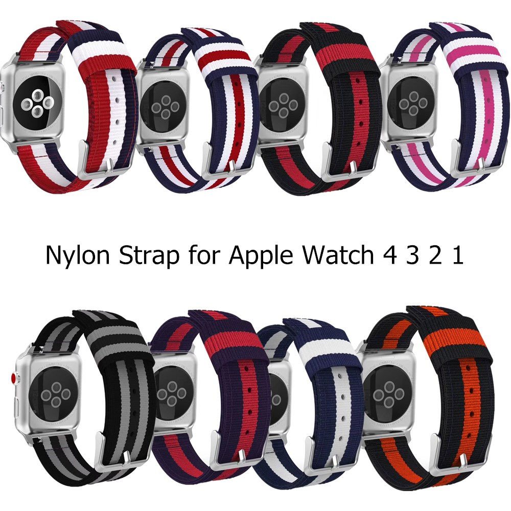 Woven Nylon Strap For Apple Watch Series 5 4 3 2 Stripe Color Buckle Watchband 38 42 MM Replacement Band For IWatch Accessoriess