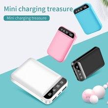 Mini led ekran güç bankası 10000mAh karikatür desen Powerbank 4800mAh taşınabilir mobil şarj güç bankası cep telefonu için