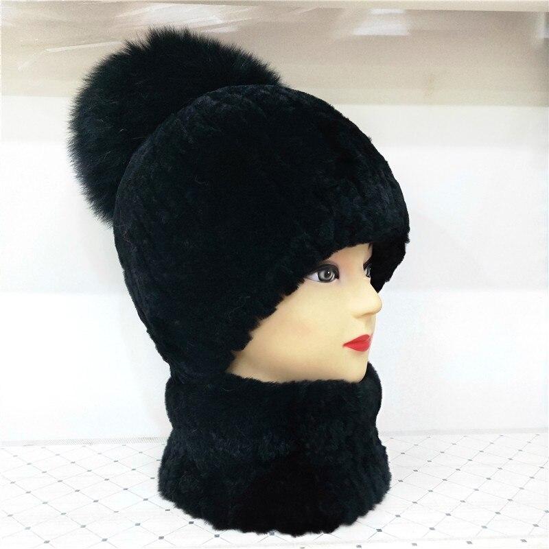 Winter 100%Real Rex Rabbit Fur Women Hat Scarf Set Comfortable Warm Vintage Fur Casual Female Ladies Beanies Scarves New Arrival