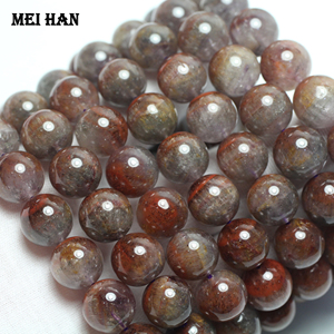 Image 2 - Wholesale (1 bracelet) 13 14mm genuine  Auralite 23 quartz  smooth round loose beads for Christmas gift jewelry making