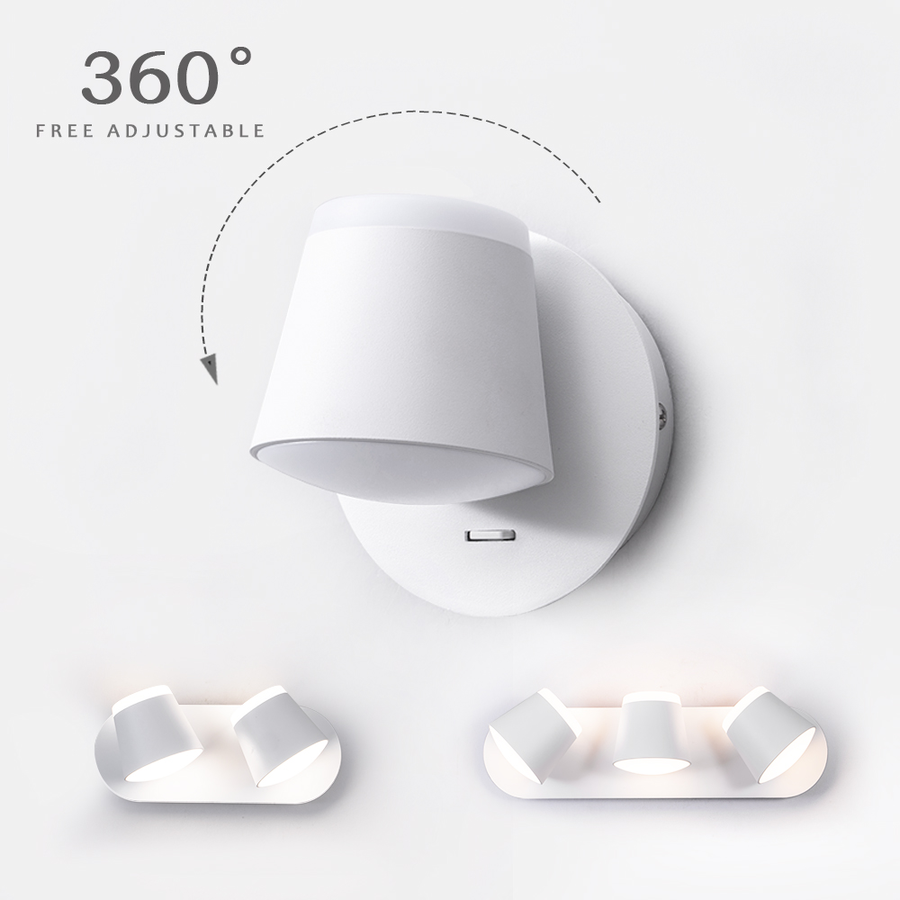 360 Degrees Adjustable LED Wall Lamp Bedside Wall Sconce Living Room Aisle Wall Mounted Luminaire Modern Hotel Wall Lamp
