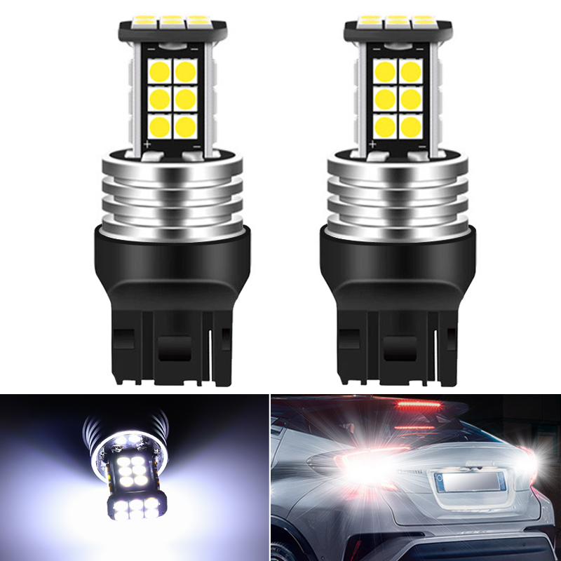 2pcs <font><b>7440</b></font> CANBUS W21W <font><b>T20</b></font> car <font><b>LED</b></font> reverse light 3030 24SMD Bulbs Signal Lamp Error Free No Hyper Flash super bright 6000k White image