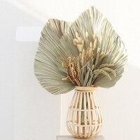 1pc Natürliche Getrocknete Blume Palm Blatt Fan Werk Palm Getrocknete Baum Blätter Home Garten Hochzeit Party Wohnzimmer Schlafzimmer Tisch dekoration