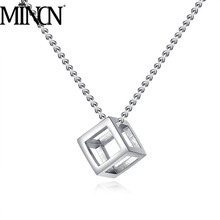 MINCN necklace stainless steel mens square men and women models titanium stereo simple jewelry