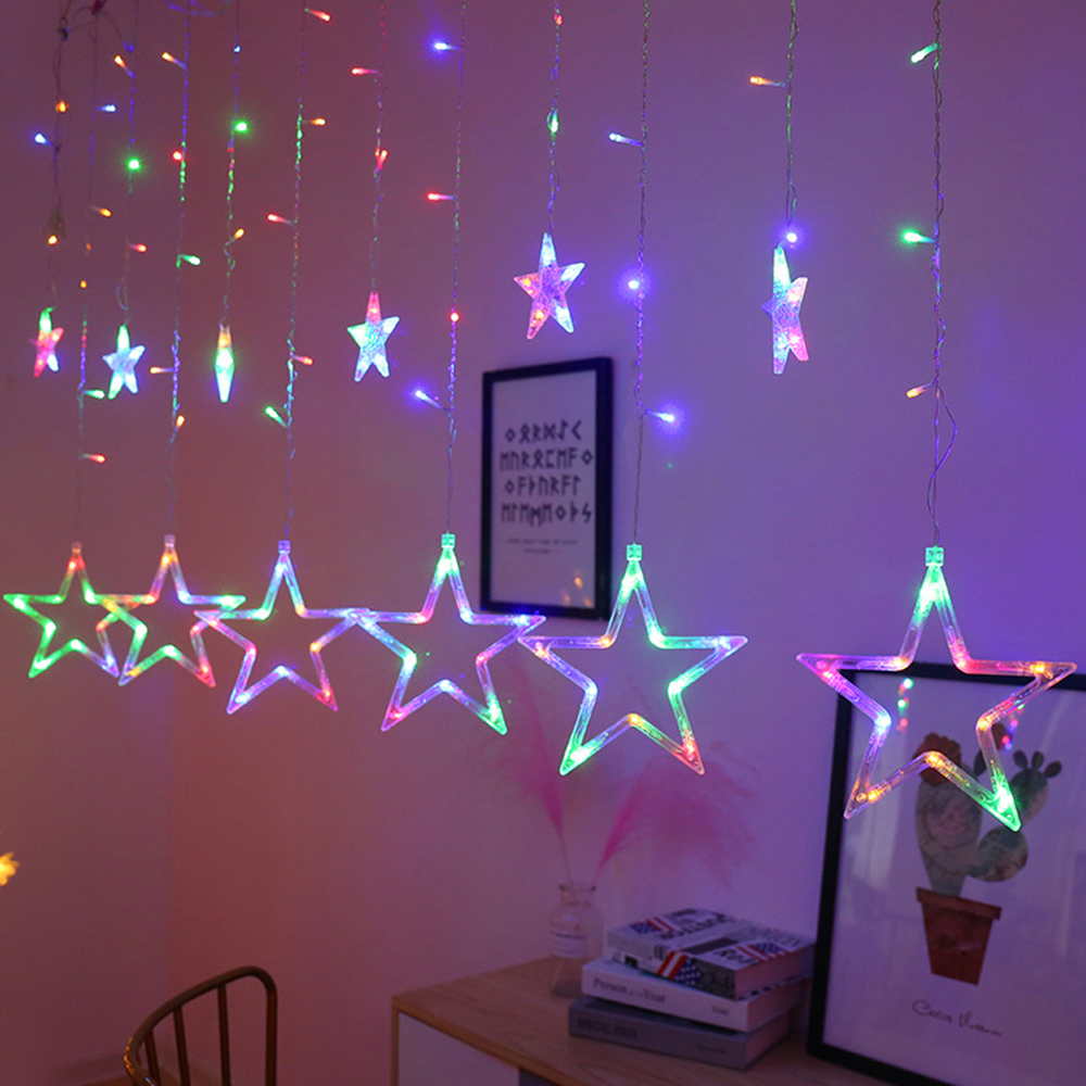 220V Curtain LED String Light Fairy Icicle 2.5M Star Christmas Garland Wedding Party Window Outdoor New Year Decorat Light