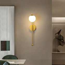 Modern Wall Lamp Nordic Bedroom Lamp Indoor Gold Colour Glass Bedside TV Backdrop Lighted Interior Led Lights Decoration