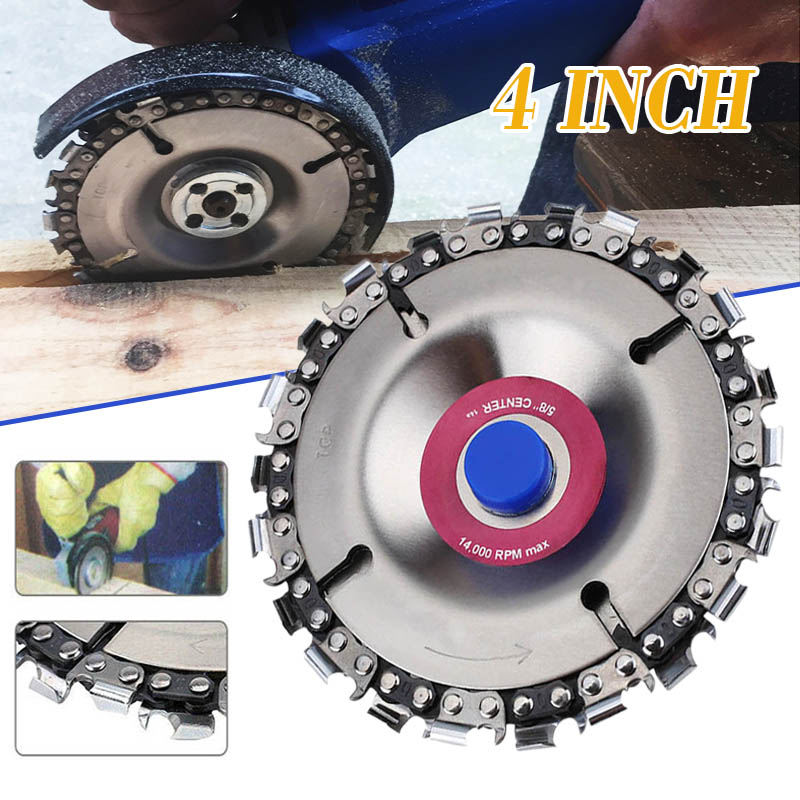 4 Inch Woodworking Angle Grinder Disc 22 Tooth Chain Saw Grinding Chain Wheel For Angle Grinder Carving Culpting Wood Tool