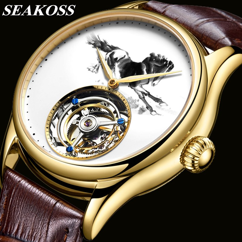 100% Real Tourbillon Watch Men Chinese Zodiac Horse Mechanical Hand Wind Top Brand Mens Tourbillon Watch Sapphire Crystal Clock 1