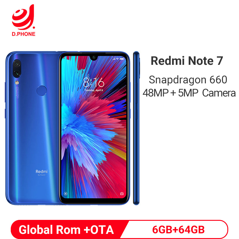 Global oficial Rom Xiaomi Redmi Nota 7 64 6 GB de RAM GB ROM Snapdragon 660 Octa Core 6.3