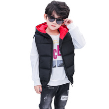 2019 Boys Warm Down Vest Kids Thicken Waistcoat Girls Outerwear Vests Children Clothing Teenager Hooded Jackets