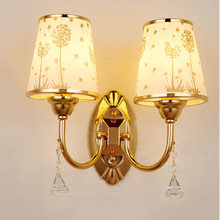 Gold Led Creative Bedroom Bedside Wall Lamp Modern Living Room Aisle Hotel Engineering Double-Headed Glass Lampshade Wall Lamp