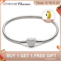 ATHENAIE 925 Sterling Silver Snake Chain With Pave Clear CZ Heart Clasp Bracelet Fit All European Charm Beads Valentine' Jewelry
