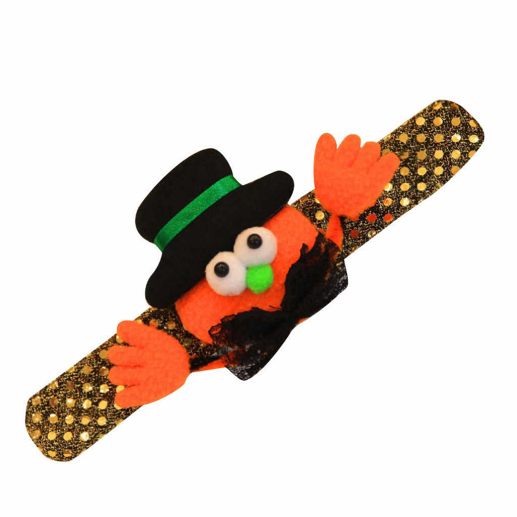 Arco Manicotti di Halloween Spettacolo di Danza per bambini di Zucca Pipistrello Zucca divertente braccialetto male Paillettes Scintillanti Incandescenza Decorativa Braccialetto # V