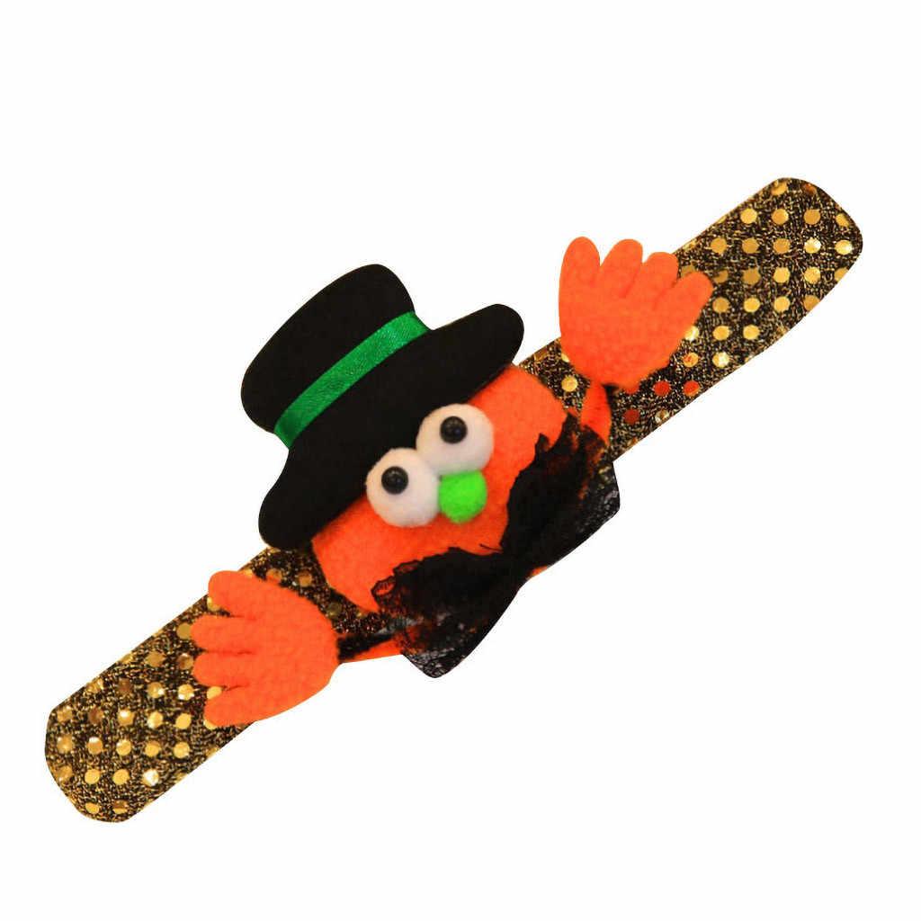 Pompoen grappige boze armband Sprankelende Boog Arm Warmers Halloween Dance Show kids Pompoen Vleermuis Pailletten Glow Decoratieve Armband # ZD