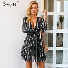 Simplee sexy V-neck high waist zebra-stripe women dress Long