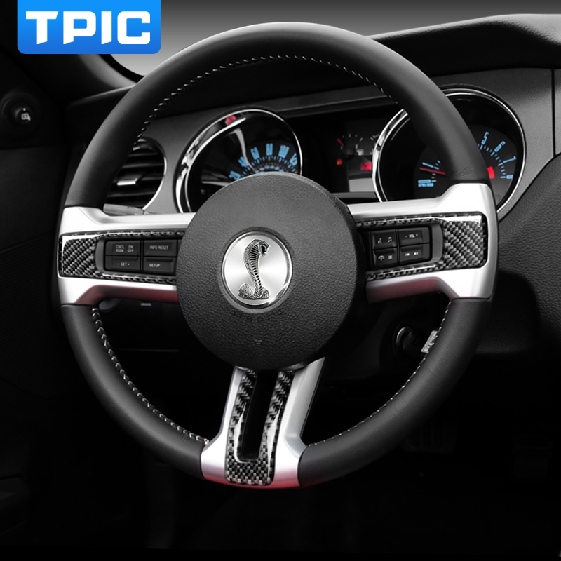Image 5 - Car Interior Moulding Trim Steering Wheel Button Frame Carbon Fiber Sticker Decals For Ford Mustang 2009 2013 Auto Accessories-in Car Stickers from Automobiles & Motorcycles