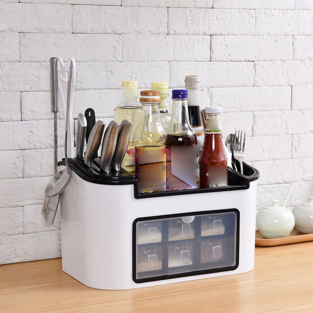 52.03руб. 33% СКИДКА|Многофункциональная кухонная стойка приправа коробка приправа банка набор бутылок Комбинированный держатель ножа|Подставки для хранения и стеллажи| |  - AliExpress