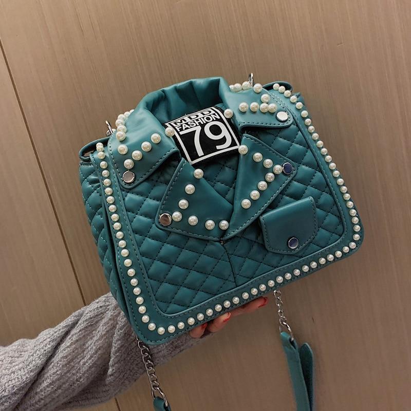 Image 4 - New Arrival Pearl Jacket Design Pu Leather Women Shoulder Bag Tote Bag Crossbody Bag Purses and Handbag Ladies Messenger Bag-in Shoulder Bags from Luggage & Bags