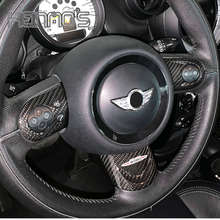For MINI Cooper Countryman Clubman R55 R56 R57 R58 R59 R60 R61 Car Styling Accessories Carbon Fiber Steering Wheel Cover Sticker