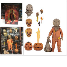 18cm NECA Trick R Treat Sam Clothed With Bag Lollipop Halloween 2007 Action Figure Classic Film Movie Toys Christmas Doll Gift