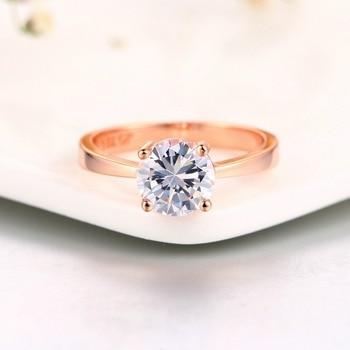 Luxury Rose Gold Women Diamond Ring for Wedding Engagement Statement Rings Rhinestone AAA White Zircon Cubic Rings Fine Jewelry 2